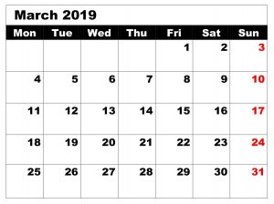 Blank Editable Calendar For March 2019