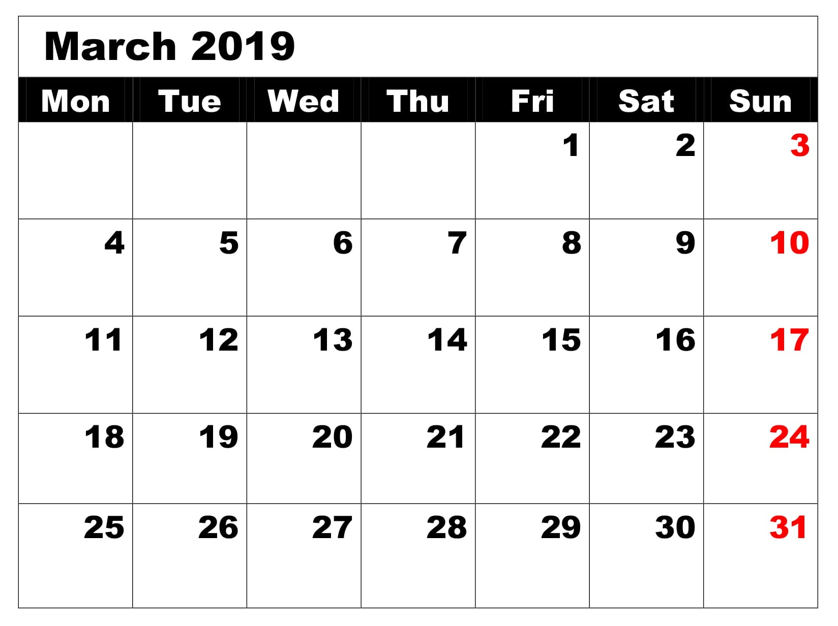Blank Editable Calendar For March 2019 Free Printable