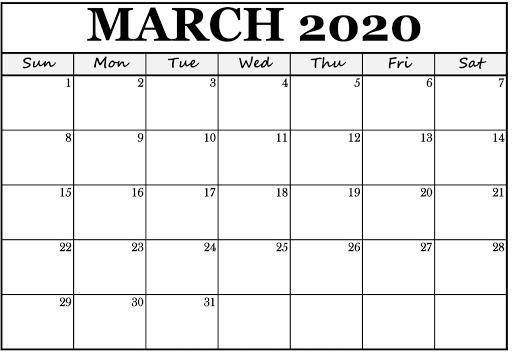 Blank Mar 2020 Calendar