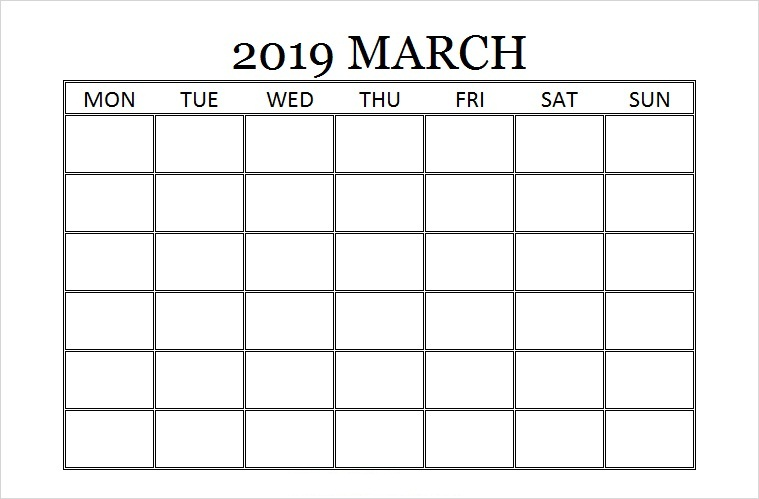 Blank Planner For March 2019