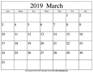 Calendar For March 2019