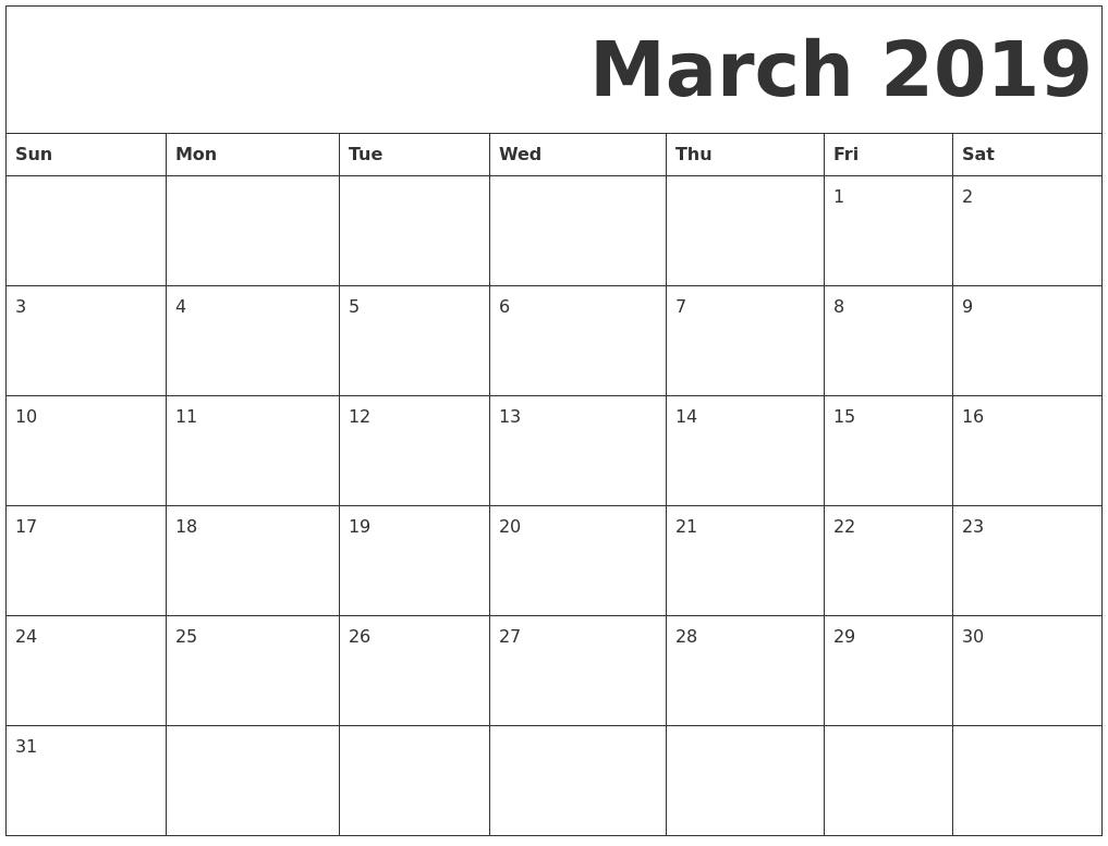 Calendar For March 2019 Printable