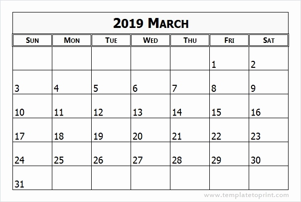 Calendar For March 2019 Template