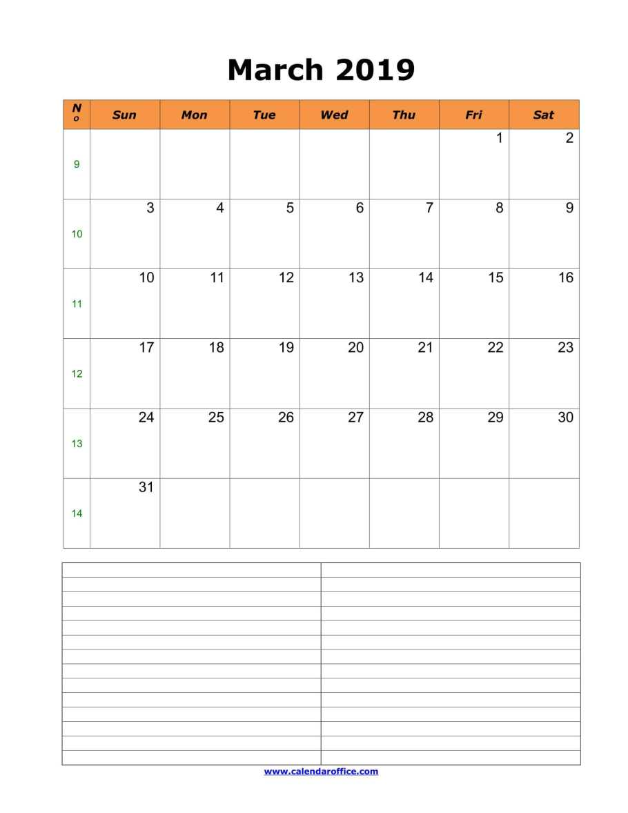 Calendar For March 2019 With Notes