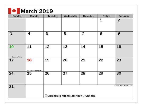 Calendar March 2019 Canada