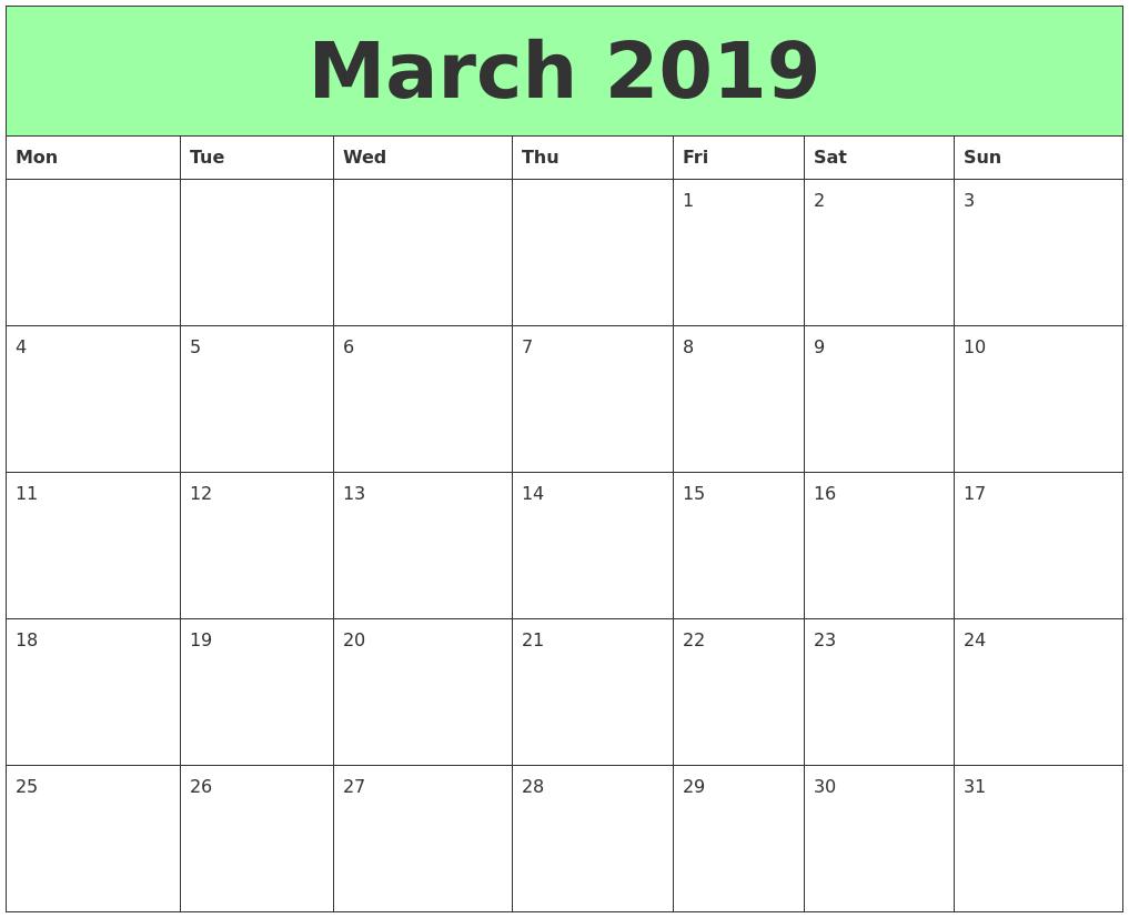 Calendar March 2019 Cute