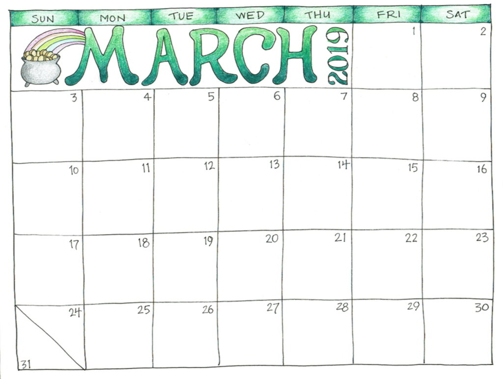 Calendar March 2019 Printable