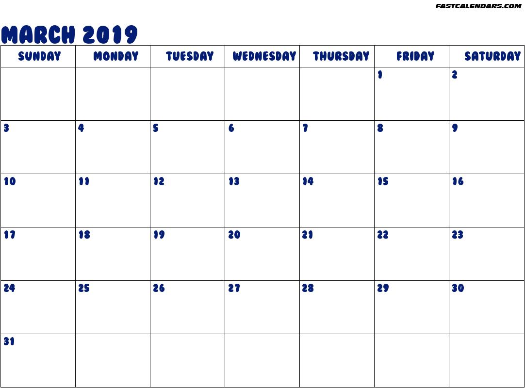 Calendar March 2019 UK