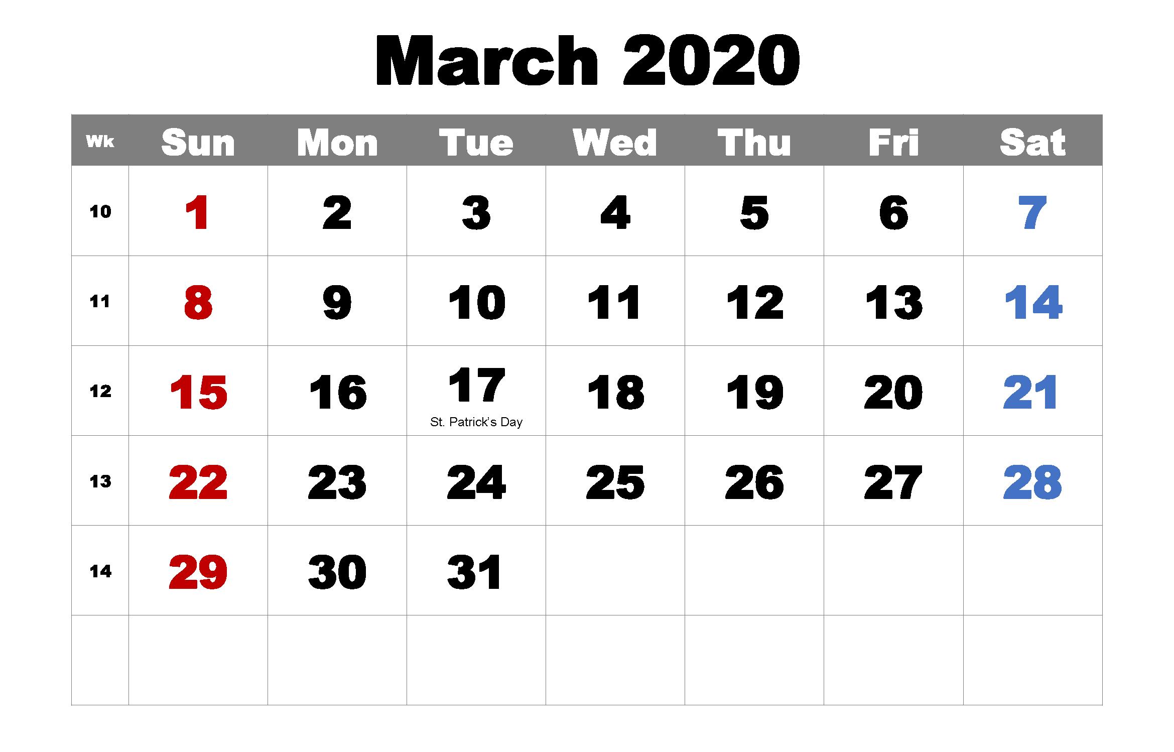 Calendar March 2020 Cute