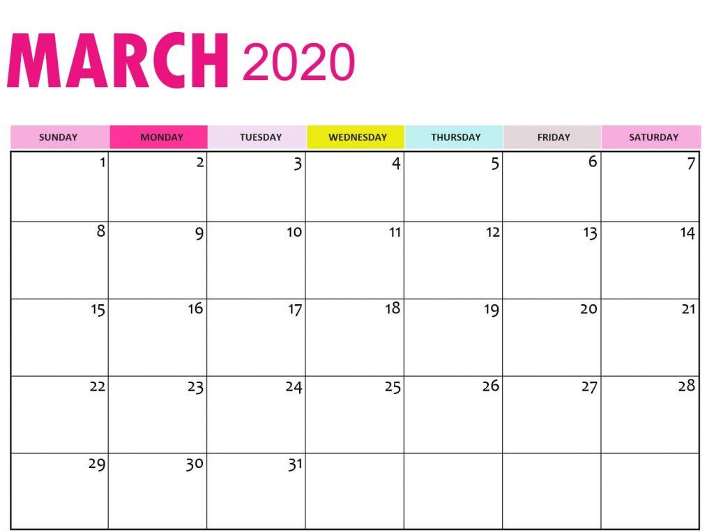 Calendar March 2020 Printable