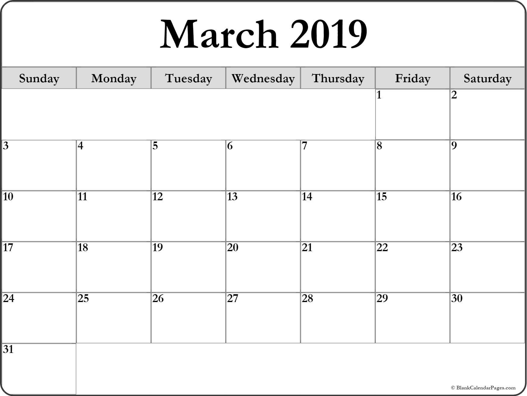 Calendar Of March 2019