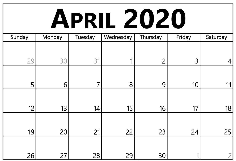 Calendar Template For April 2020