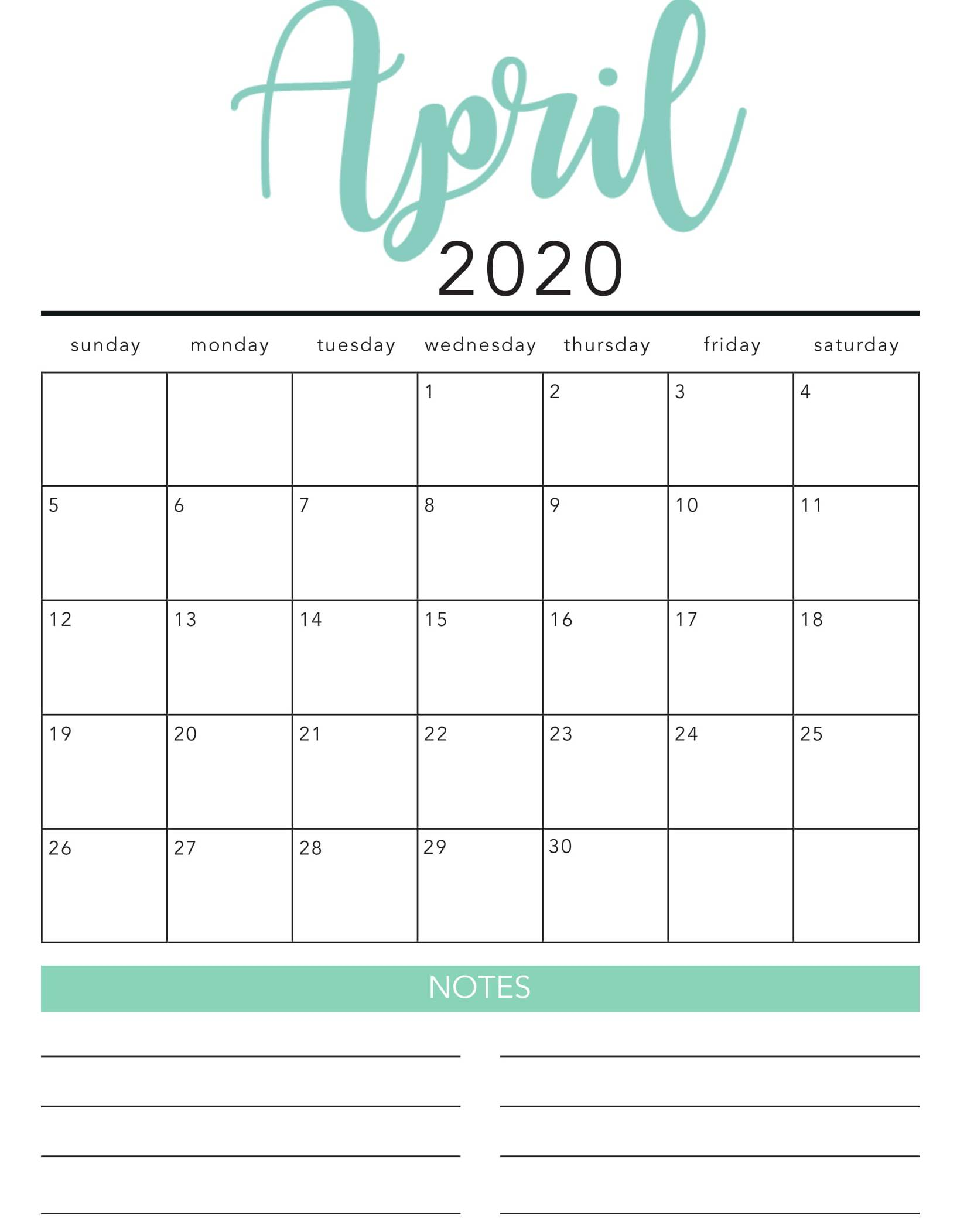 Cute April 2020 Home Wall Calendar