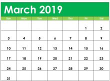Cute March 2019 Calendar Editable
