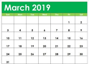 Cute March 2019 Calendar Editable