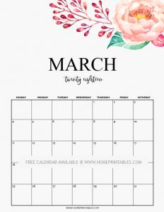 Cute March 2019 Calendar Printable