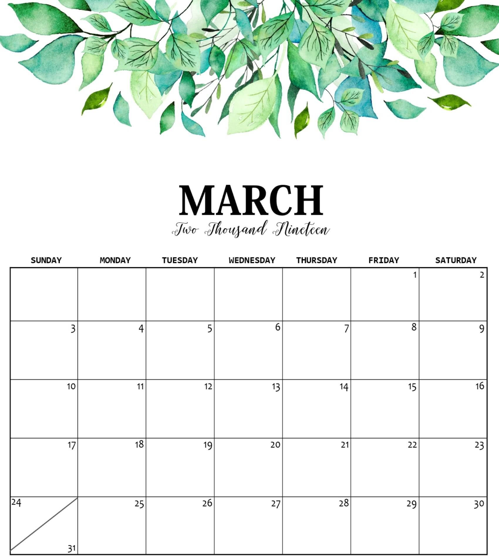 graphic relating to Printable Calendar Cute named Adorable March 2019 Calendar Template - Cost-free Printable Calendar