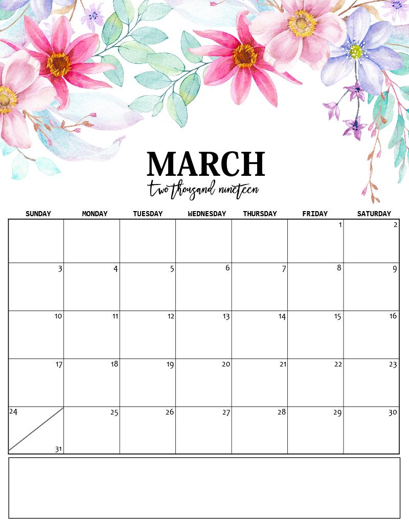 Cute March 2019 Calendar Word