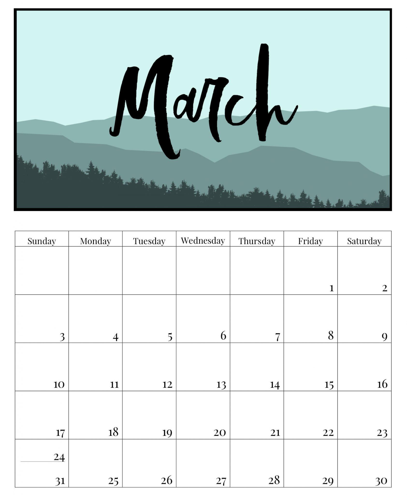 Cute March 2019 Desk Calendar