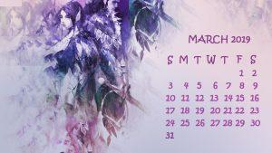 Cute March 2019 Desktop Calendar Wallpaper