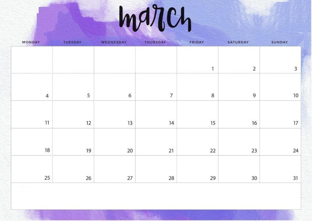 Desk Calendar Template For March 2019