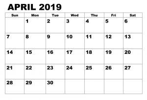 Editable April 2019 Printable Calendar