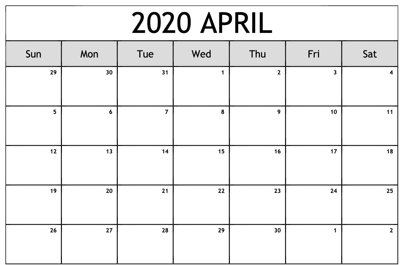 Editable Calendar Template April 2020