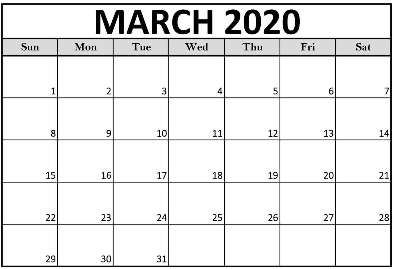 Editable Calendar Template March 2020