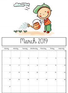 Editable March 2019 Calendar For Kids