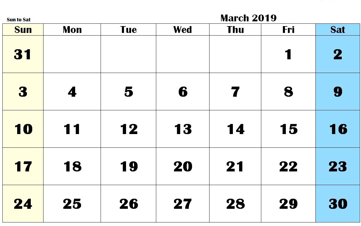 Editable March 2019 Calendar PDF