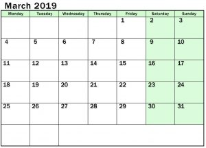 Editable March 2019 Calendar Template