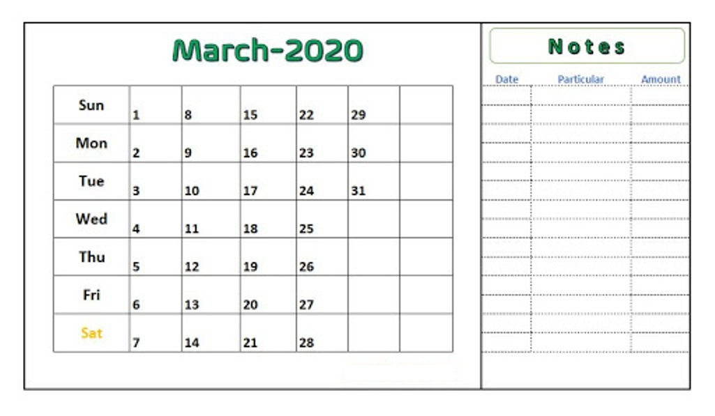 Editable March 2020 Calendar with Notes
