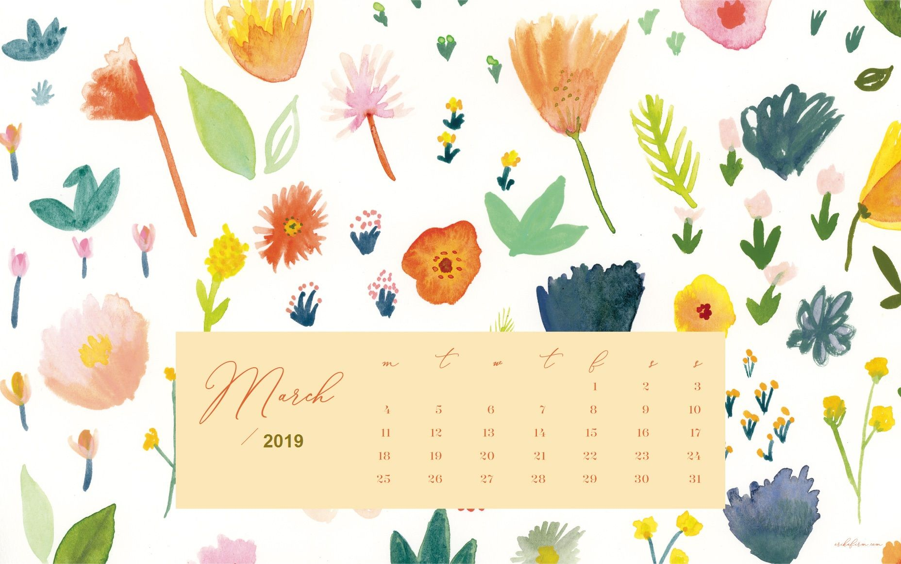 Floral March 2019 Desk Calendar