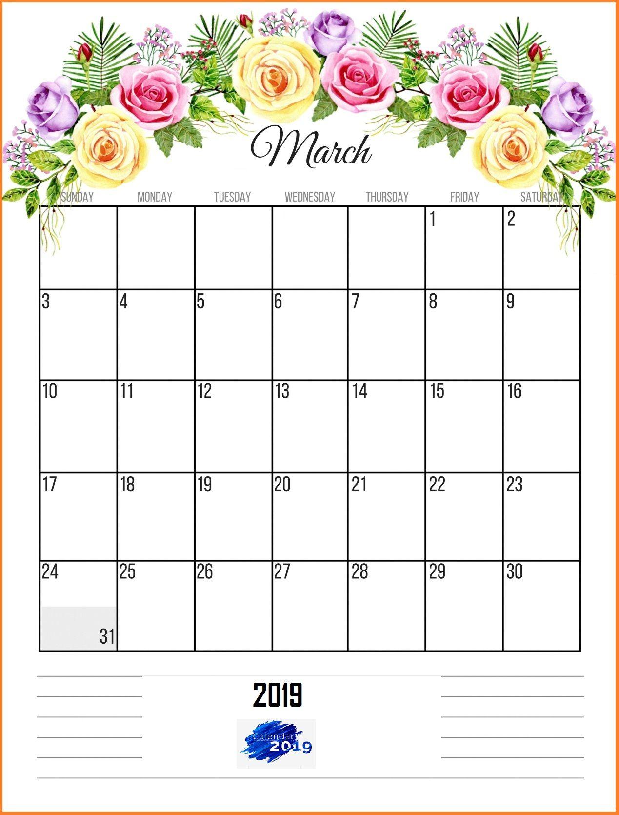 Floral March 2019 Wall Calendar