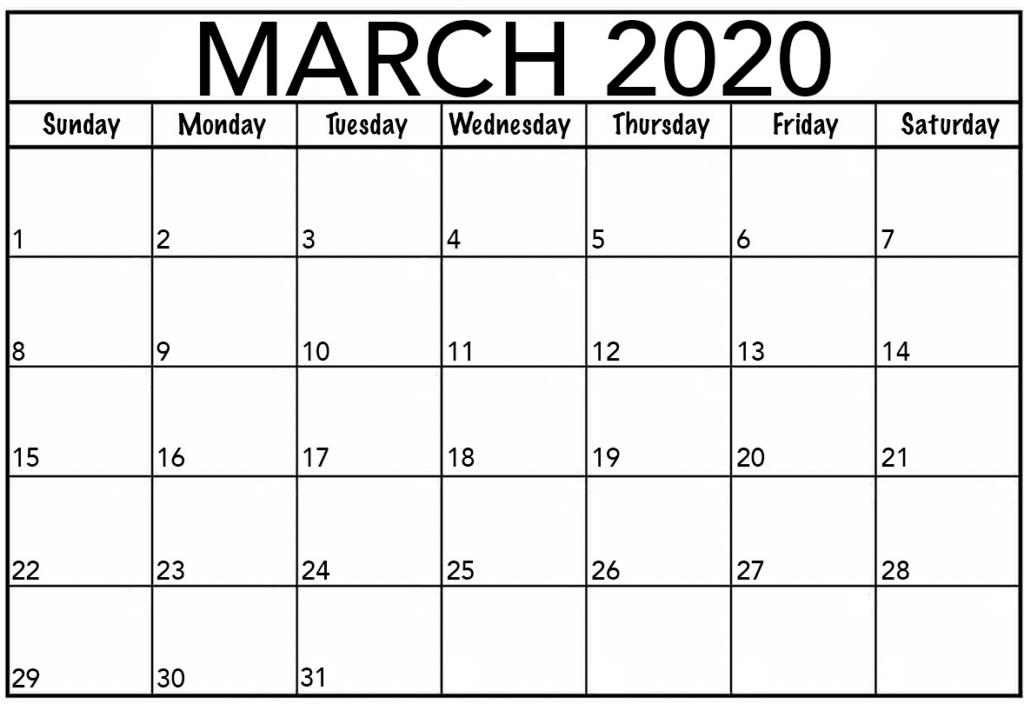 Free March 2020 Calendar Printable PDF