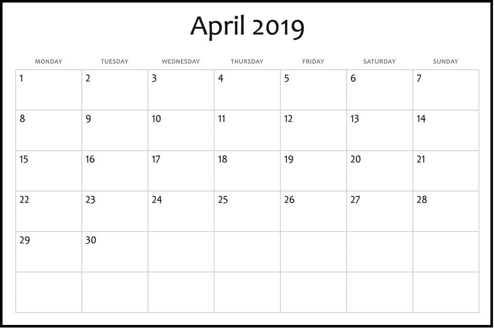 Free Printable April 2019 Calendar Template