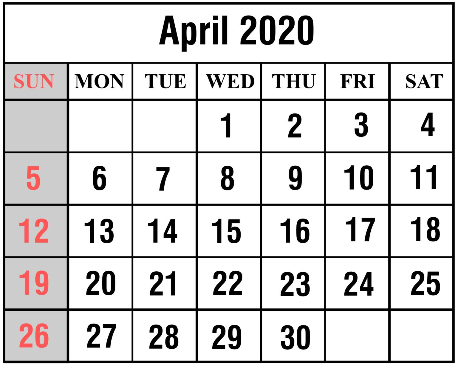 Free Printable Blank April 2020 Calendar