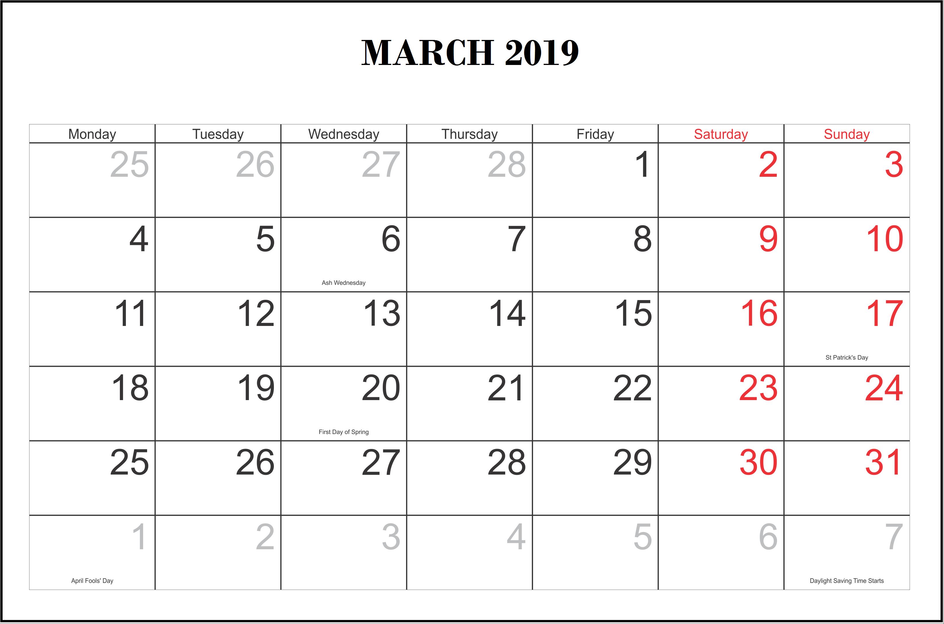 Holidays Calendar For March 2019
