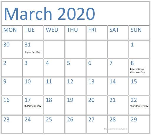 Holidays Calendar Mar 2020