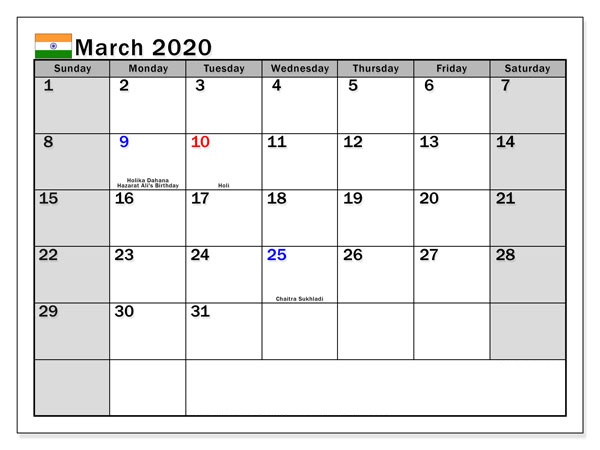 Indian Holidays Calendar March 2020