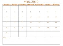 Kalender März 2019