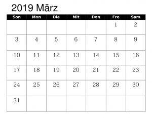 Kalender März 2019 Excel