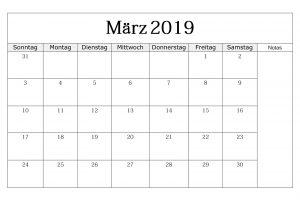 Kalender März 2019 Frei