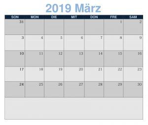 Kalender März 2019 PDF