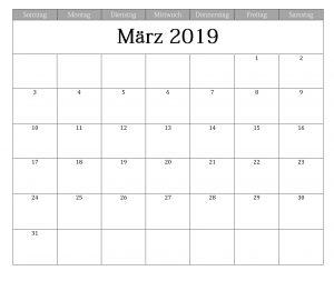 Kalender März 2019 Zum Ausdrucken PDF