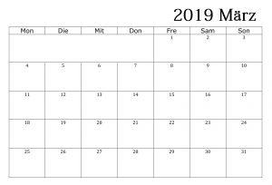 Kalender März 2019 Zum Ausdrucken Schwarzweiß
