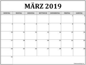 März 2019 Kalender Druckbarer