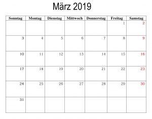 März 2019 Mit Feiertagen Kalender