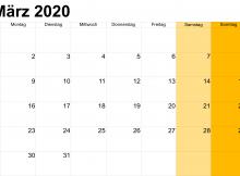 März 2020 Kalender mit Feiertagen