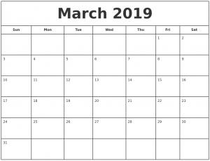 Mar 2019 Calendar